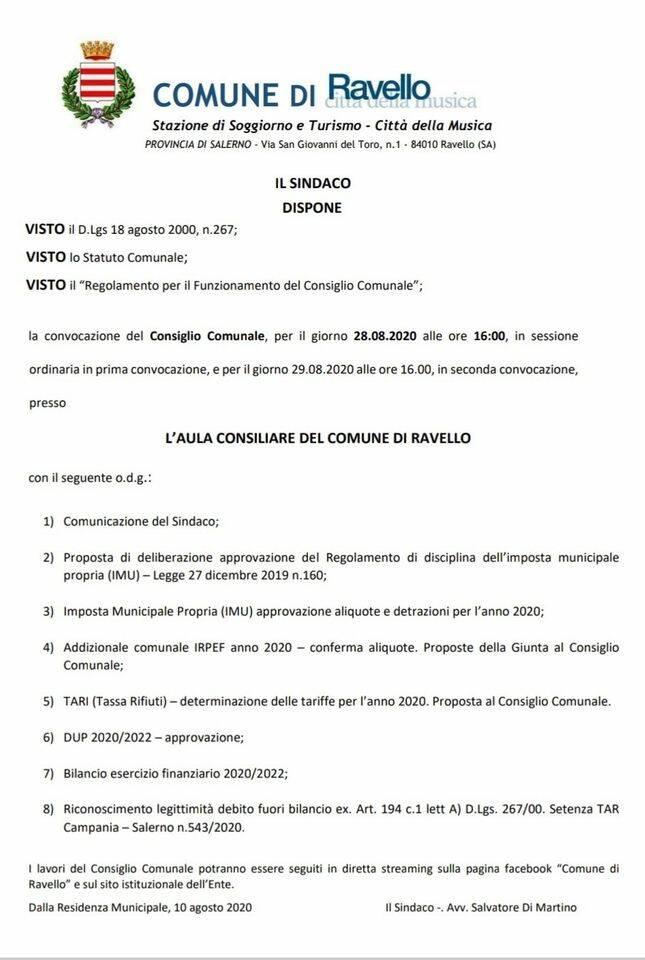 Ravello. Convocato il consiglio comunale in data 28 agosto