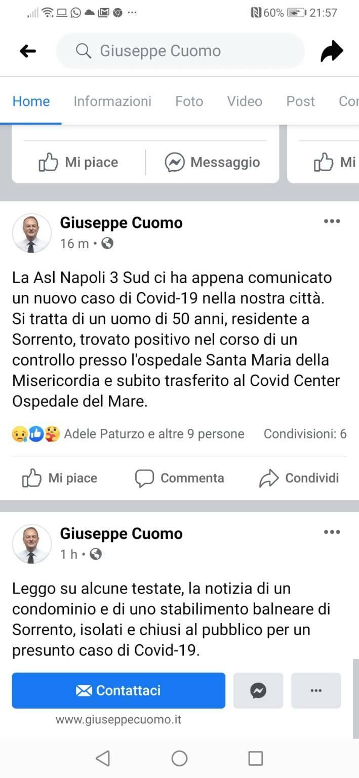 Sorrento annuncio di altro caso di Covid dal sindaco Cuomo