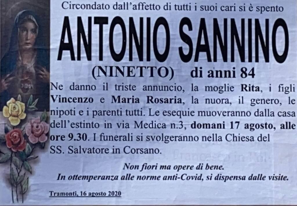 Tramonti lutto Antonio Sannino
