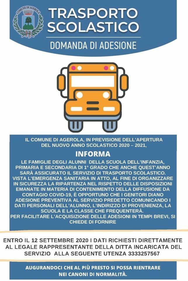 Agerola. Servizio trasporto scolastico assicurato per l'anno scolastico 2020-2021
