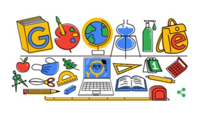 Il Doodle di Google di oggi dedicato al rientro a scuola