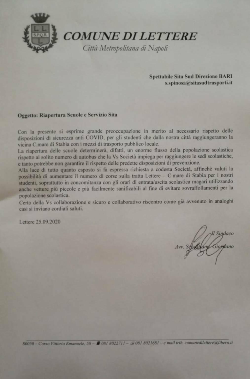 Lettere. Ripartenza delle scuole, il sindaco scrive alla Sita