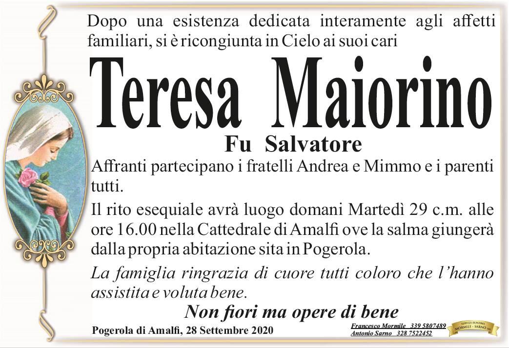 Pogerola di Amalfi. Ci ha lasciati Teresa Maiorino, fu Salvatore