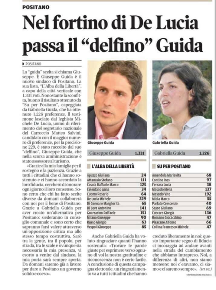 Positano. Come è stata accolta la vittoria di Giuseppe Guida dalla stampa?