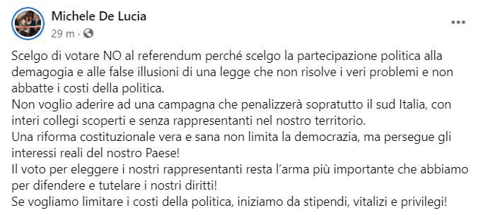 post sindaco de lucia referendum