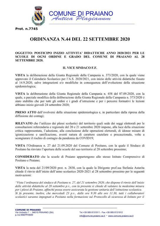 Posticipato l'inizio dell'anno scolastico a Praiano: le scuole apriranno il 28 settembre