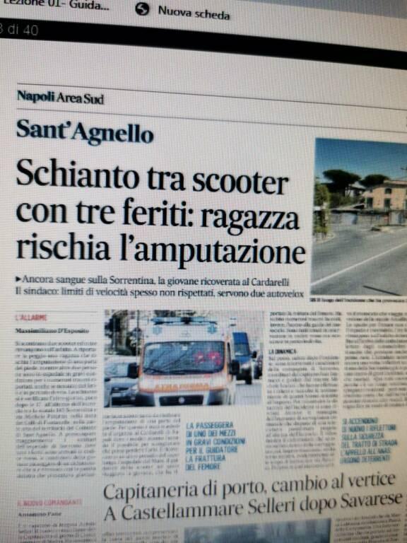 Sant'Agnello incidente riportato da Il Mattino