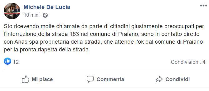 sindaco de lucia post riapertura statale