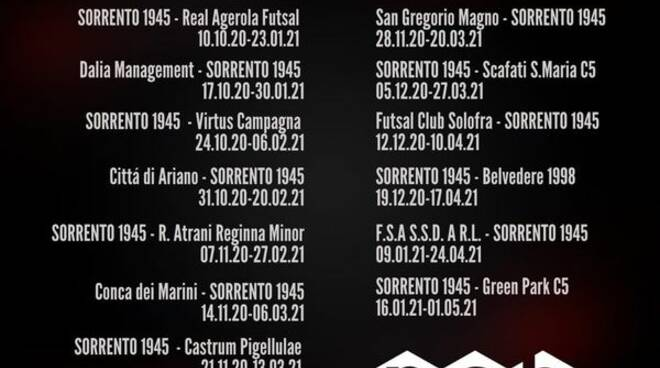 sorrento futsal calendario