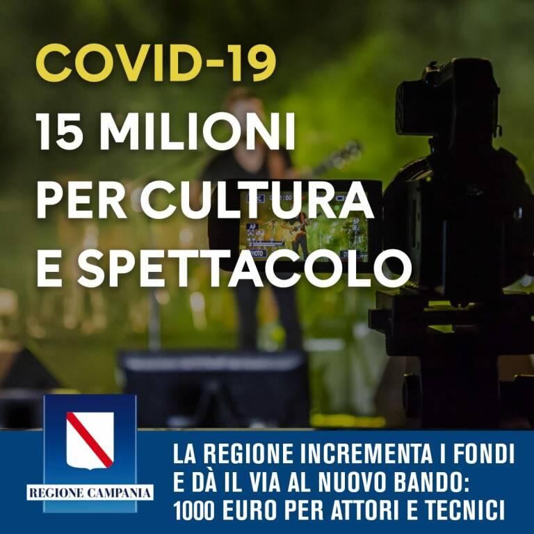 Coronavirus, Campania. Dalla Regione 15 milioni per Cultura e Spettacolo
