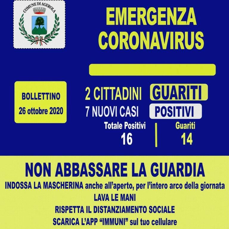 Due cittadini guariti e sette nuovi casi positivi ad Agerola