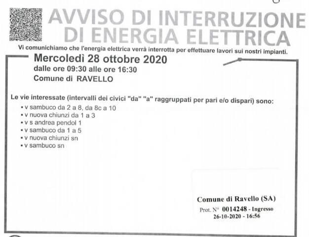 interruzione elettrica ravello 28 ottobre