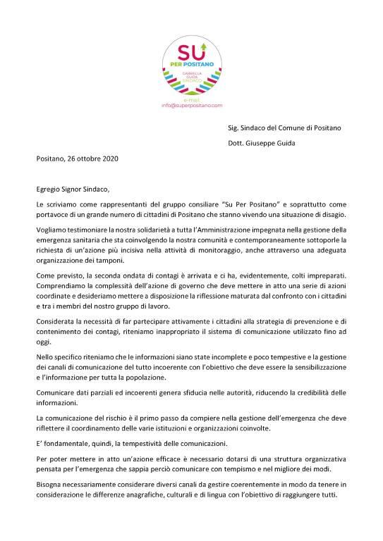 Positano. L'opposizione invia una lettera al sindaco per la situazione Coronavirus