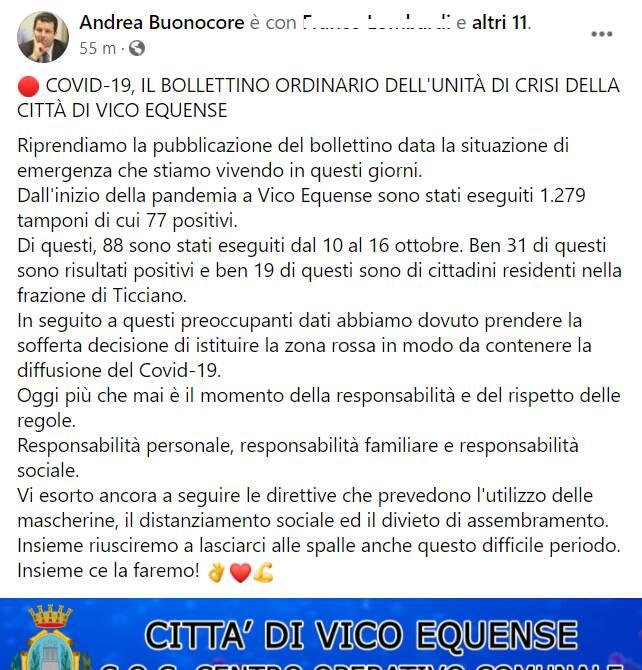 post sindaco buonocore bollettino contagi 16 ottobre