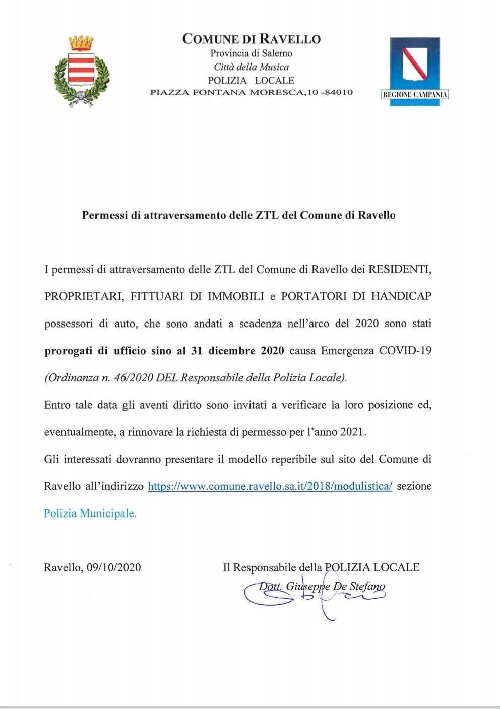 Ravello. Permessi di attraversamento delle ZTL