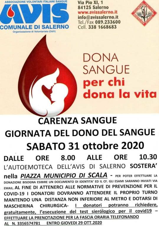 Scala. Sabato 31 ottobre promossa una giornata di donazione del sangue