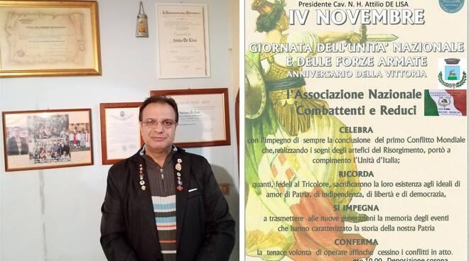 Comune di Sanza: comunicazione dal Cav. N. H. Attilio De Lisa Presidente Sezione Associazione Nazionale Combattenti e Reduci