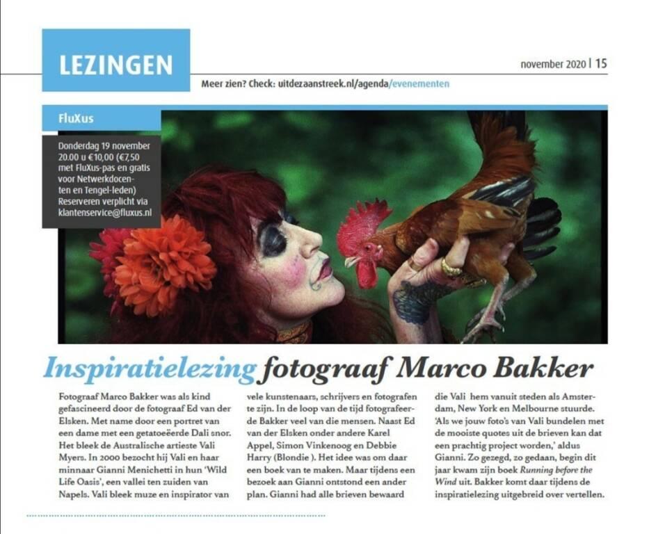 "\""Running before the Wind\"", Marco Bakker presenta a Amsterdam il libro ispirato a Vali Myers"