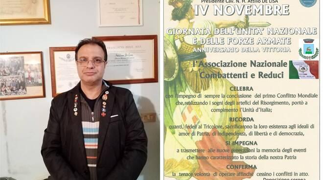 Comune di Sanza: il Presidente di Sezione A.N.C.R. Cav. N. H. Attilio De Lisa ha onorato il 102° Anniversario della  Vittoria del 4 Novembre con i complimenti e ringraziamenti del Presidente Provinciale Prof. Antonio Landi