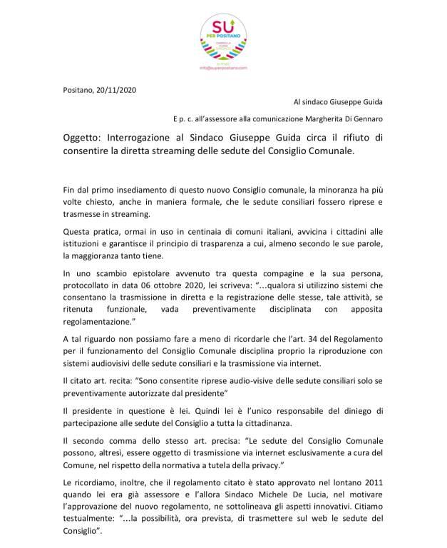 """Consiglio Comunale a porte chiuse a Positano, la minoranza: """"Necessità di trasmettere in streaming"""""""
