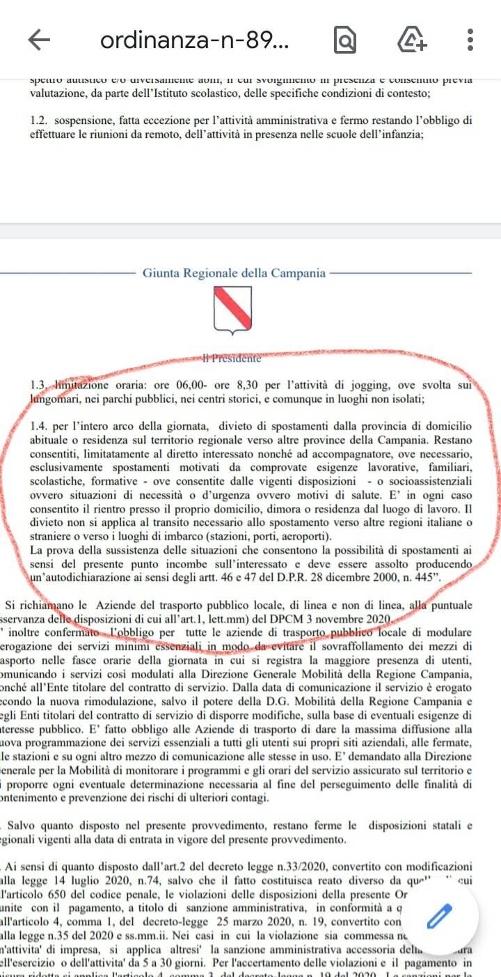 Divieto spostamento da provincia a provincia in Campania