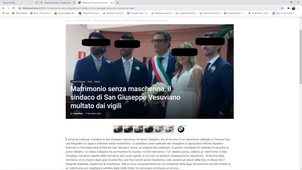 Matrimonio senza mascherina sindaco San Giuseppe Vesuviano