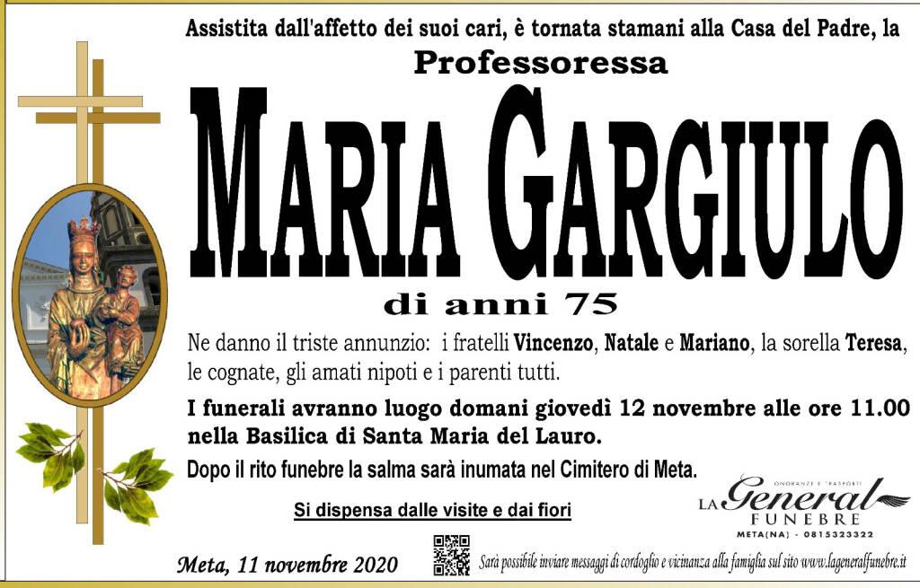 Meta. All'età di 75 anni è tornata alla casa del Padre la Professoressa Maria Gargiulo