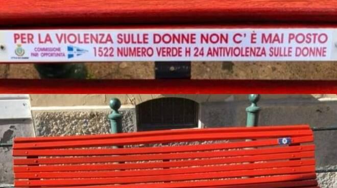 Per la violenza non c'è posto: a Vico Equense affissa una targa sulla panchina rossa