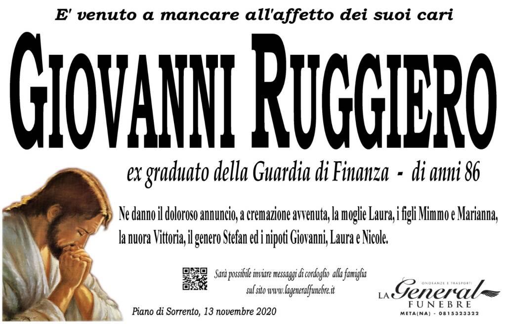 Piano di Sorrento. all'età di 86 anni è venuto a mancare Giovanni Ruggiero, ex graduato della Guardia di Finanza