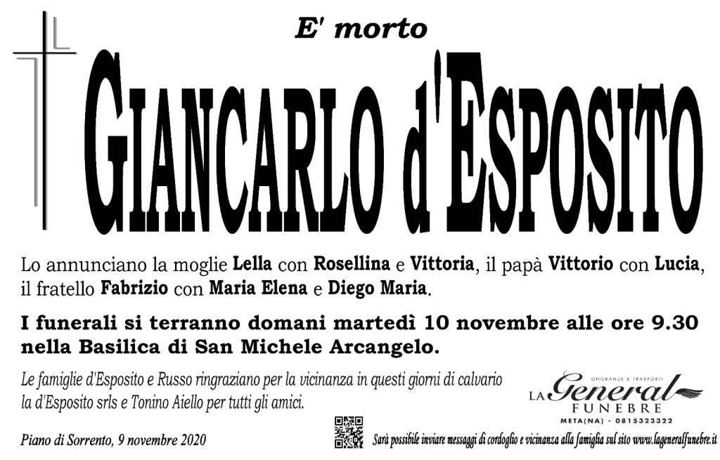 Piano di Sorrento in lutto per la perdita di Giancarlo d'Esposito, domani mattina i funerali