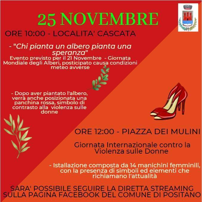 Positano, domani mercoledì 25 novembre si celebrano gli Alberi e la Giornata Internazionale contro la violenza sulle Donne in diretta streaming