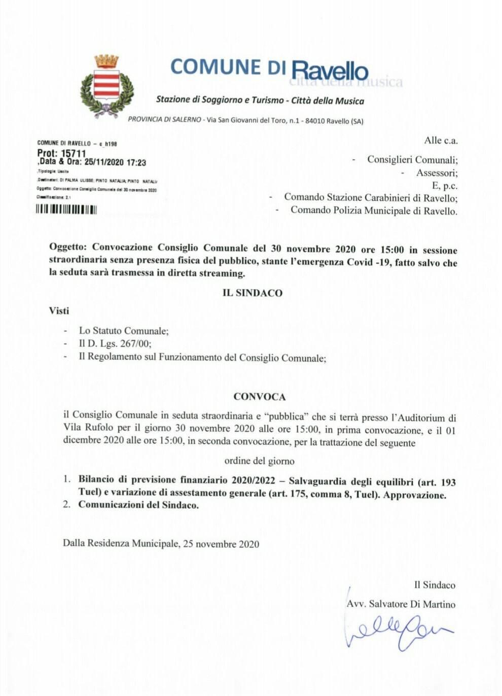 Ravello, lunedì 30 novembre convocato il Consiglio Comunale