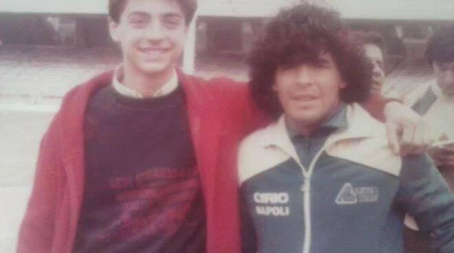 Rolando Attanasio con Diego Armando Maradona