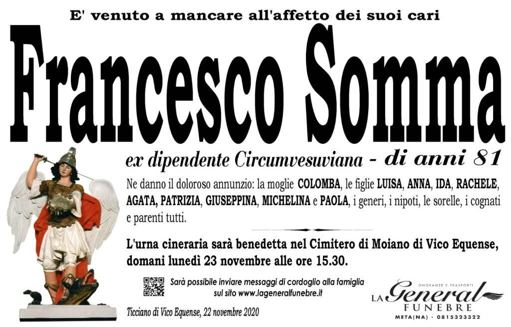 Ticciano di Vico Equense, all'età di 81 anni si è spento Francesco Somma, ex dipendente Circumvesuviana
