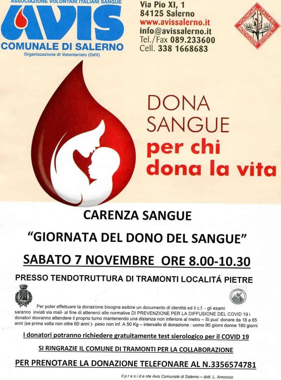 Tramonti: sabato 7 novembre giornata dedicata alla donazione del sangue