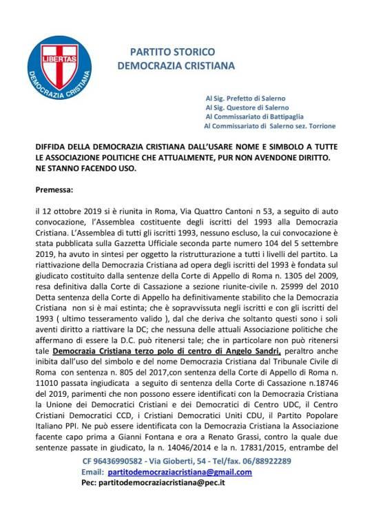 """Agerola, la Democrazia Cristiana smentisce Imperati: """"Nessuno ci rappresenta"""""""