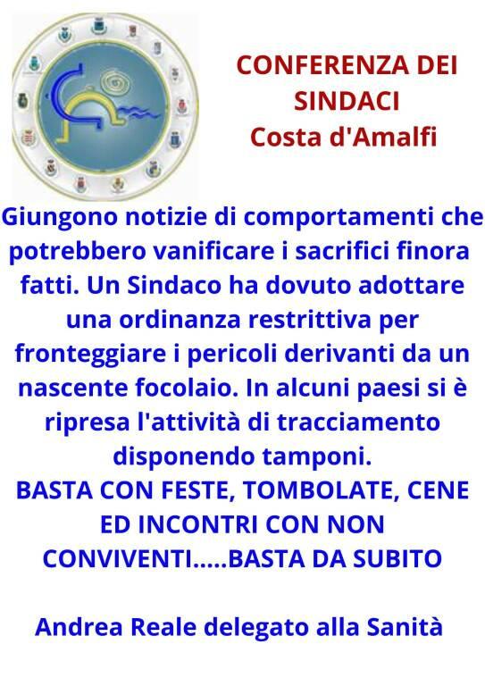 """Anche la Conferenza dei Sindaci della Costa d'Amalfi lancia l'allarme: """"Bisogna seguire le regole!"""""""