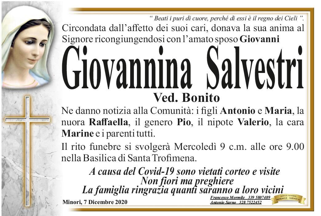Minori, ci lascia e si ricongiunge al suo sposo Giovannina Salvestri, vedova Bonito