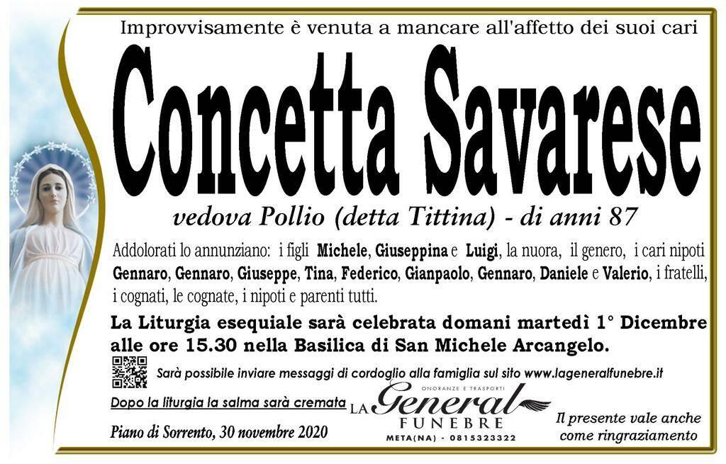 Piano di Sorrento, all'età di 87 anni è venuta a mancare Concetta Savarese, vedova Pollio, detta Tittina: oggi i funerali