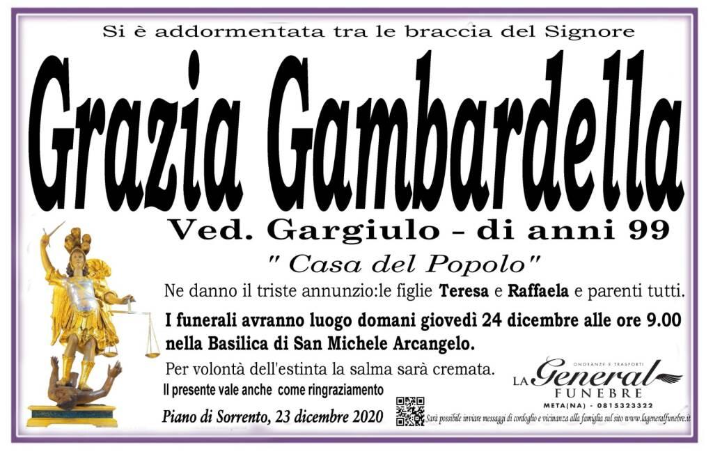 Piano di Sorrento in lutto: all'età di 99 anni si è addormentata tra le braccia del Signore Grazia Gambardella, vedova Gargiulo