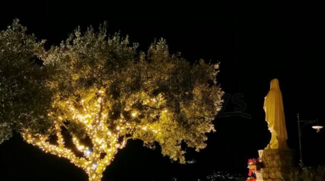 Positano. L'albero alla Garitta illuminato per Natale, di fronte la Madonna che guarda e protegge il Paese