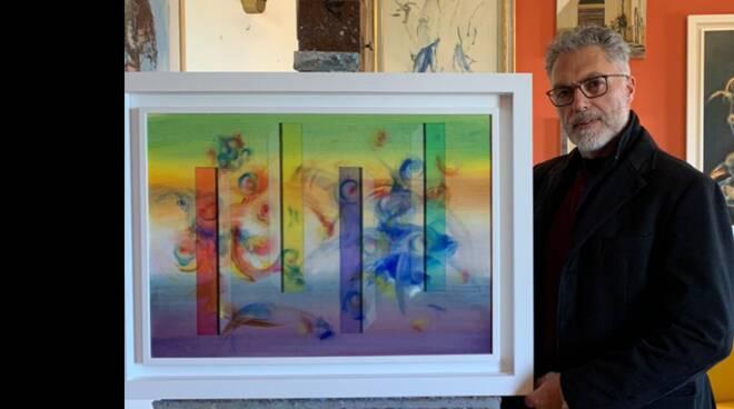 1 - Alessandro Maio, Serie Interazioni n.4, smalti e olio su cartoncino Fabriano 250 gr., cm 50x70 ,anno 2020