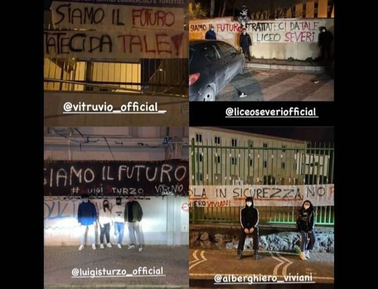 """A Castellammare di Stabia la protesta degli studenti: """"Torniamo a scuola in sicurezza"""""""