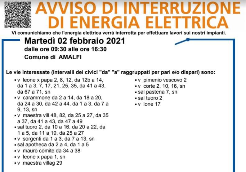 Amalfi, martedì 2 febbraio interruzione elettrica fino alle 16.30: ecco dove