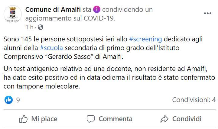 """Amalfi, screening scuola """"Gerardo Sasso"""": risulta la positività di una docente"""