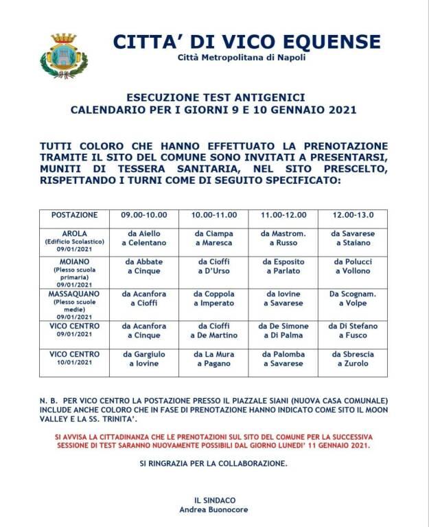 Coronavirus, a Vico domani riparte il servizio di screening gratuito: ecco il calendario