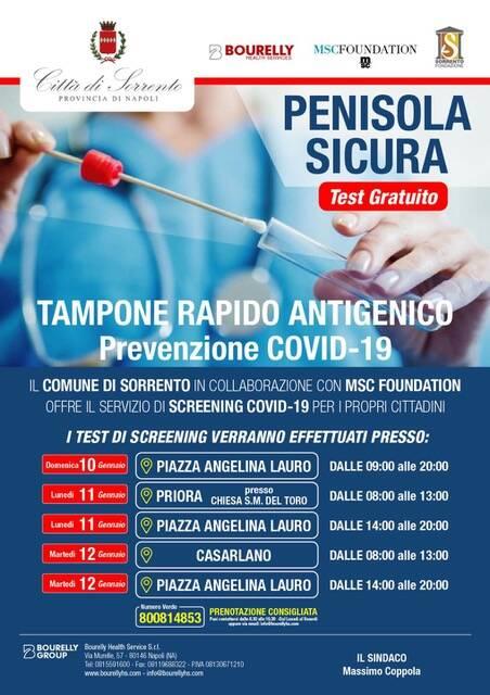 Coronavirus. Prosegue a Sorrento la campagna di screening gratuito