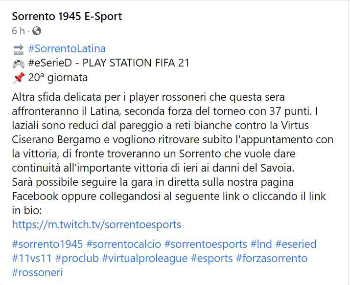 eSerieD - Play Station Fifa 21: questa sera alle ore 23 Sorrento-Latina