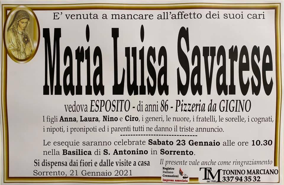 lutto Maria Luisa Savarese