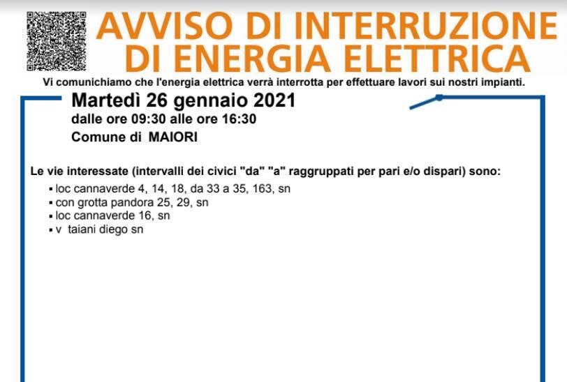 Maiori, mercoledì 27 gennaio interruzione dell'energia elettrica fino alle 16.30